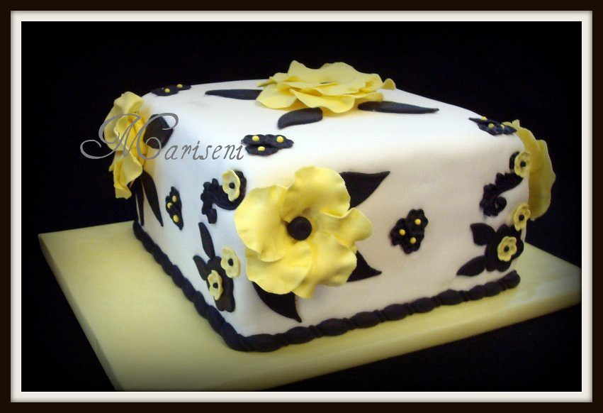 White Black & Yellow Anemone Birthday Cake | Join us on Face… | Flickr