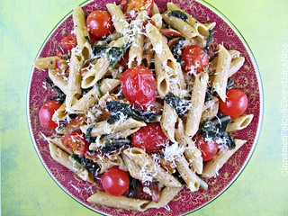 Bacon, Swiss Chard and Tomato Penne (BLT Pasta) | by CinnamonKitchn