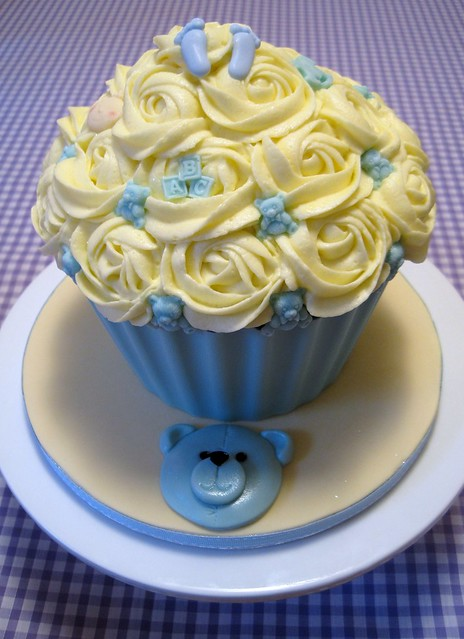 Giant cupcake for a baby shower (I'm guessing it's a boy by the chosen ...