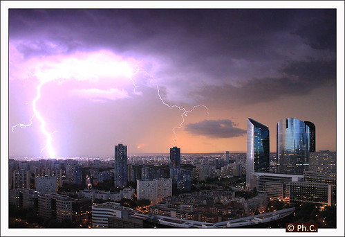 Electric sunset over La Defense | by Philippe Cottier (PH.C)