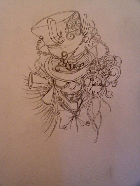 Tattoo Design Mad Hatter Sketch Flickr Photo Sharing