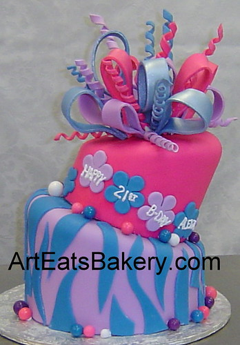 Pink Purple And Blue Fondant Zebra And Flowers Girl S Cus