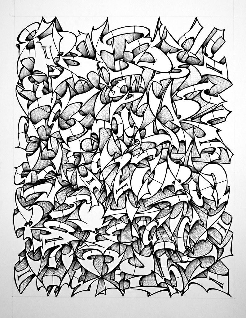 276 alphabet 50 x40 cm feutre et bic j 39 en ai mal au crane flickr - Dessin de tag alphabet ...