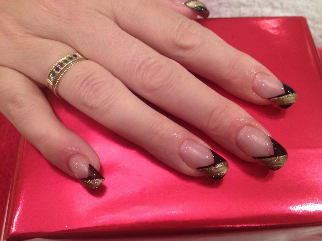 Black V Tip With Gold Strip As Nail Art Nic Senior Flickr