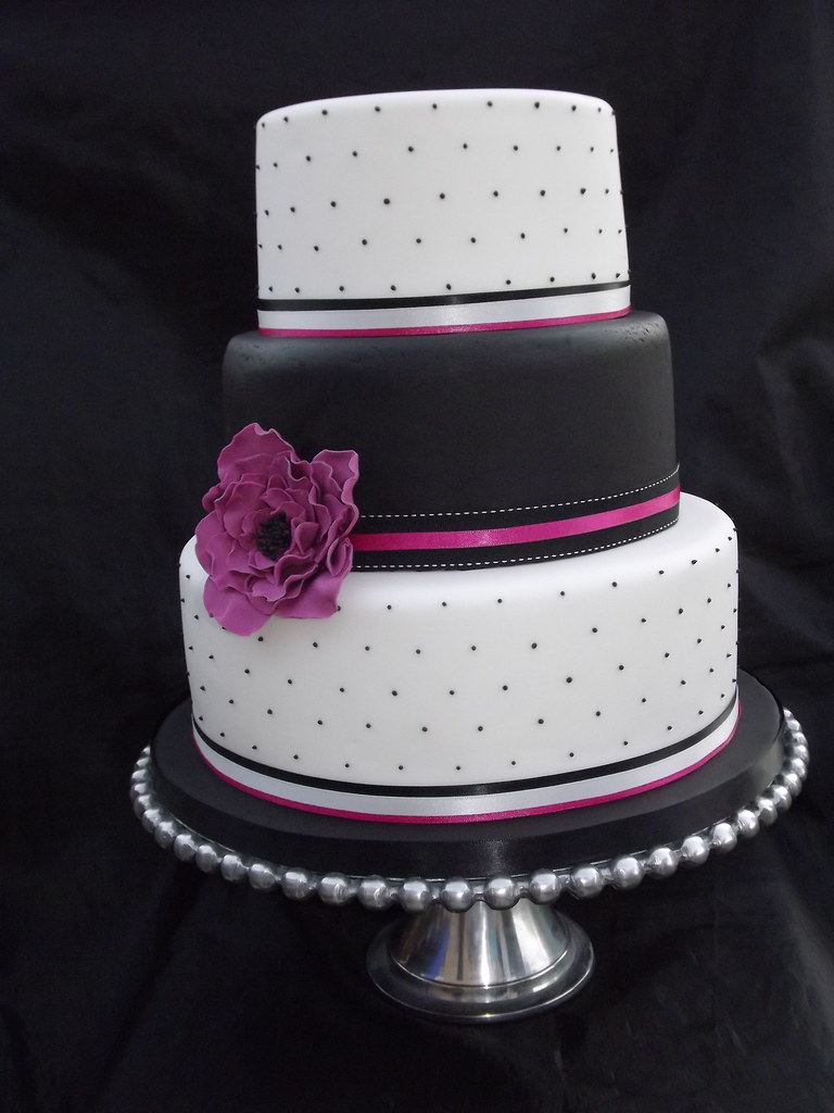 Hot Pink and Black Wedding Cake | cakes by samantha | Flickr