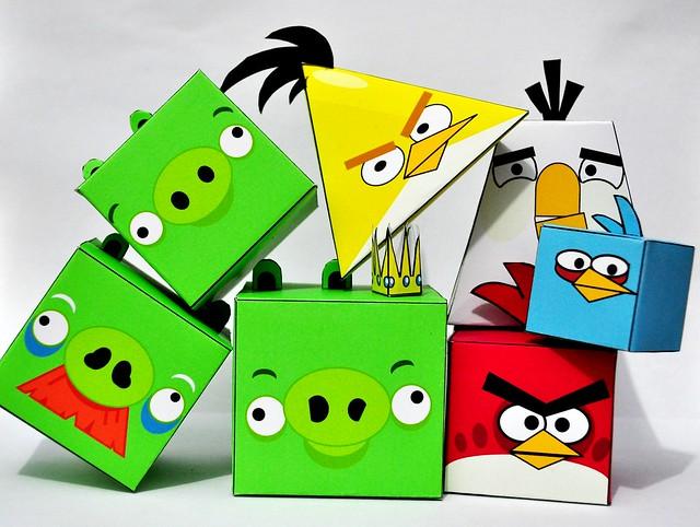 Как сделать из бумаги птицу angry birds