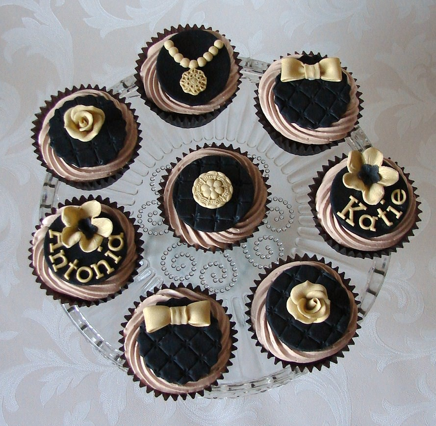 Black And Gold Vintage Style Cupcakes Chocolate Cupcakes