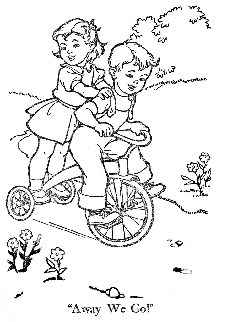 Vintage coloring pages of children