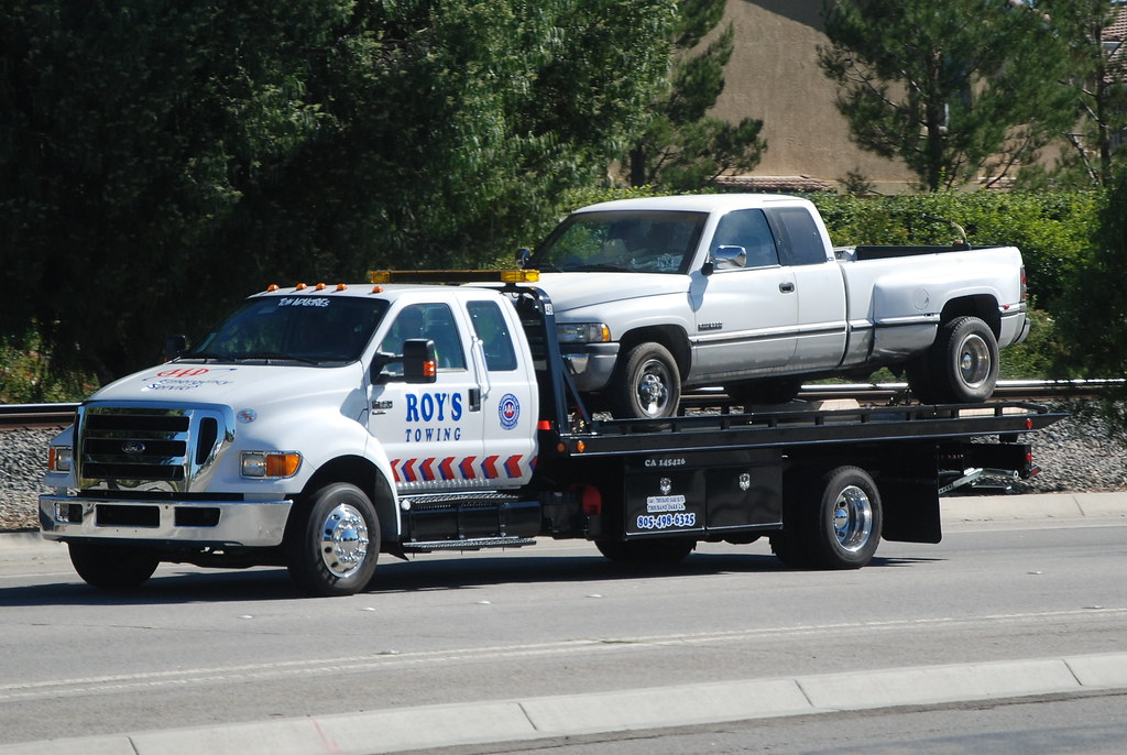 Towed Car Finder >> ROY'S TOWING - FORD FLATBED TOW TRUCK with DODGE DUALLY PI… | Flickr