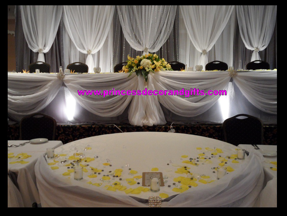 Platinum silver white backdrop wedding decor head tabl for Making wedding decorations
