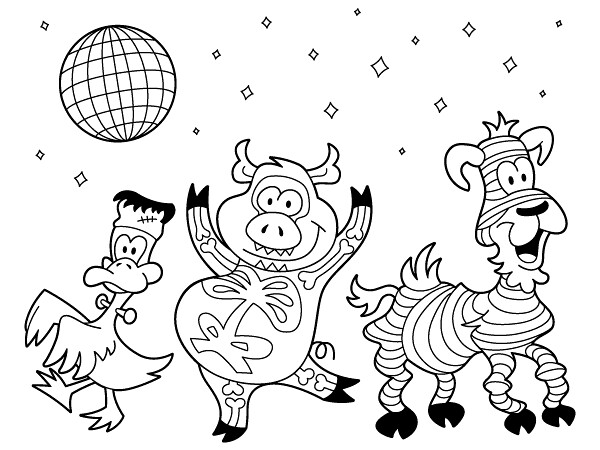 disco coloring pages | Dancing Animals in Costumes! | A coloring page with some ...
