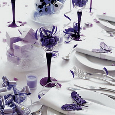 Purple And Butterfly Wedding Purple Table Setting Sofia
