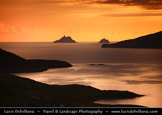 Ireland - County Kerry - Ring of Kerry - Sunset over Bay with The Skellig Islands - Skellig Michael & Small Skellig | by © Lucie Debelkova / www.luciedebelkova.com