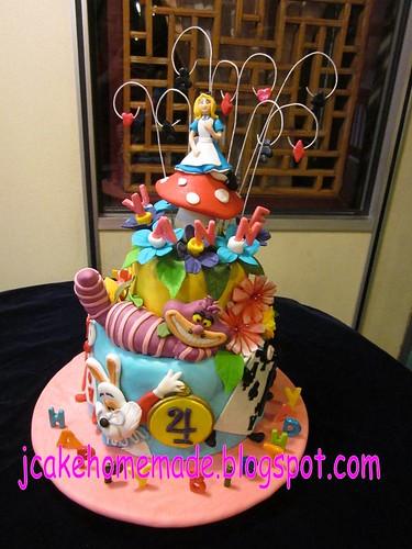 Alice In Wonderland Birthday Cake Happy 4th Birthday