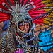 portrait of a Mayan warrior dressed as a jaguar(street performers)-mexico city-mexico
