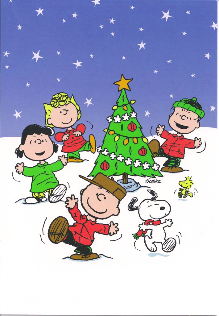 snoopy gang dancing around christmas tree by mailbox happiness angee at postcrossing