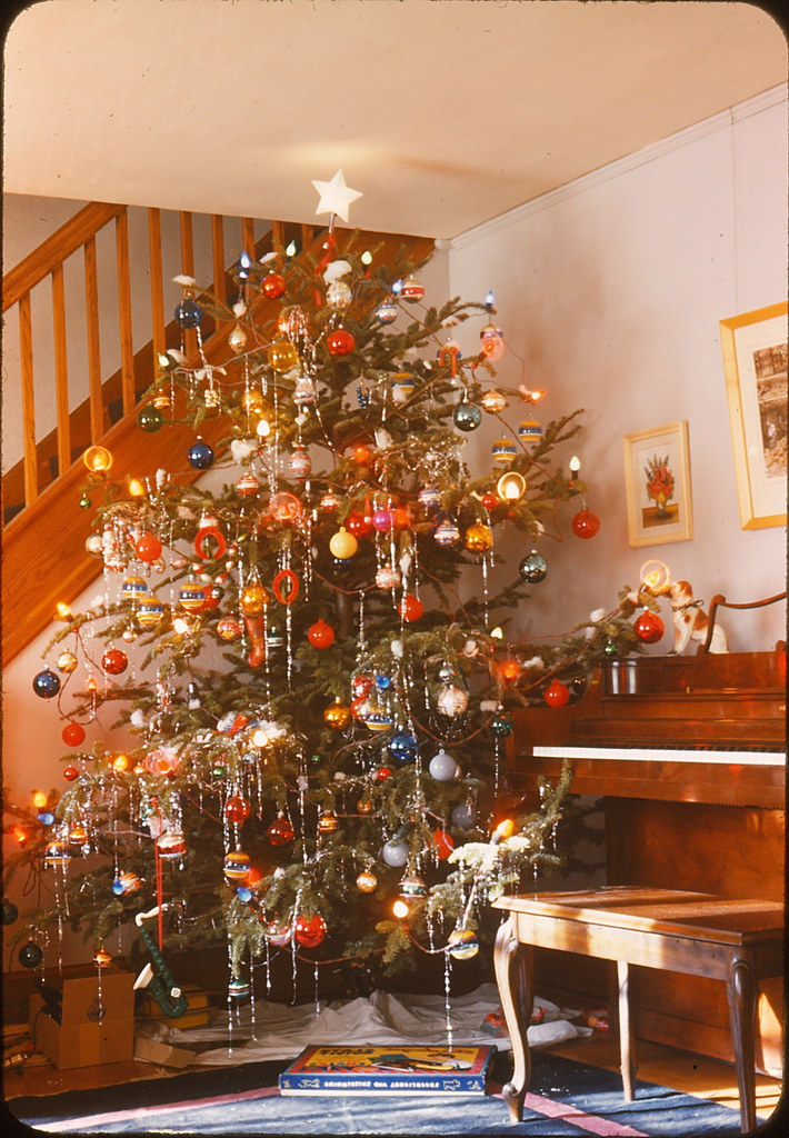 "Christmas Tree & Piano 1946 | Vintage slide, marked ""1946 ..."