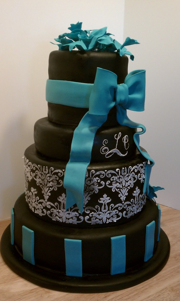 teal coloured wedding cakes black white and teal wedding cake black white and 20779