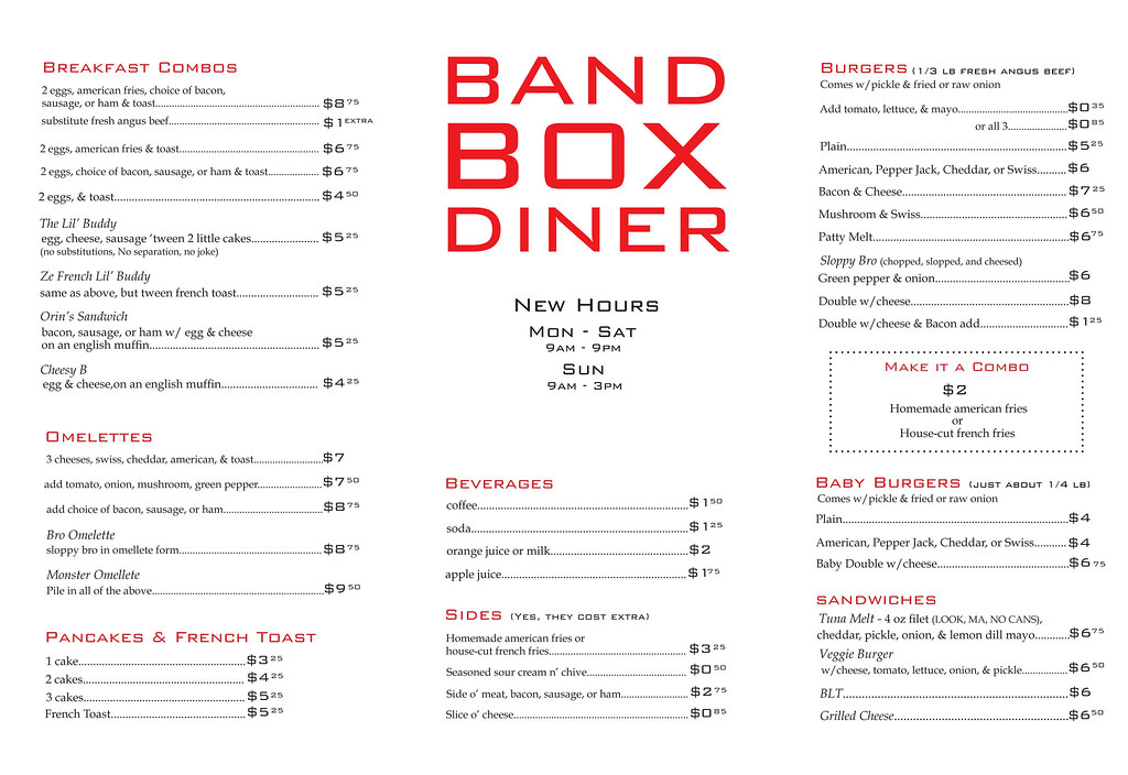 Band Box Diner Possible Menu Redesign For The