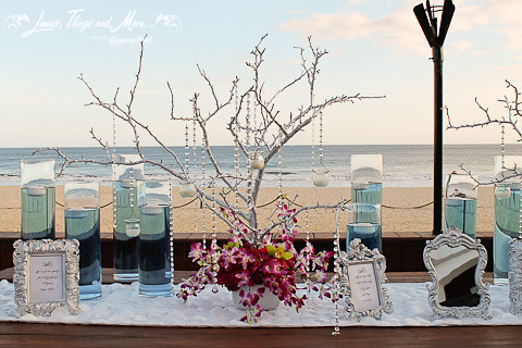 Turquoise And White Wedding Entrance Table At Cabo Azul Re