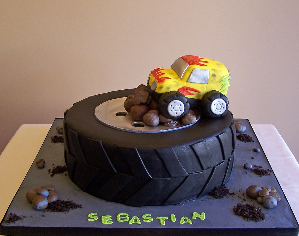 Tire And Monster Truck Cake 10 Quot Cake Truck And Stones