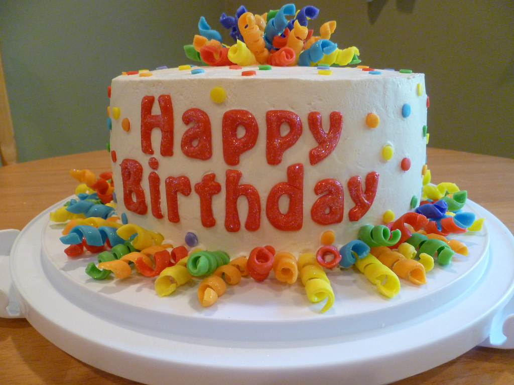 Confetti Curly Ribbon Birthday Cake Mings Cakes Flickr