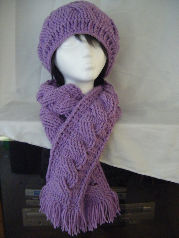 Crochet Scarf Patterns With Cables : crochet cables beret scarf pattern 1 www.etsy.com/shop ...