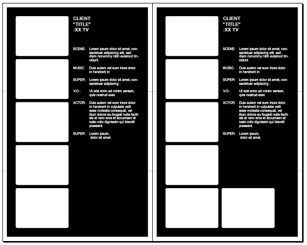 By Kristof Creative 05 Frame Storyboard 17 X 27 In