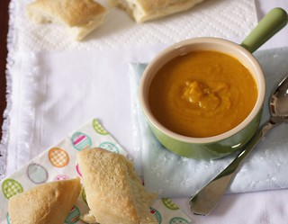 curried squash soup with fresh bread | by Madison Bistro