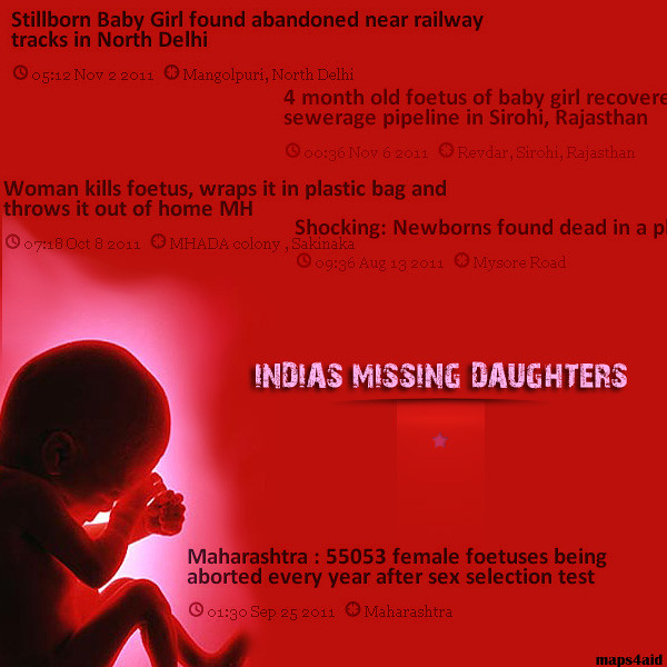 female foeticide in india Several researchers have found a significant demographic imbalance (male/female ratio) in north-west india: a strong preference for the birth of boys that leads to reproductive practices often discriminating girls (sex-selective abortion, infanticide and neglect) is suspected of being responsible for the phenomenon this.
