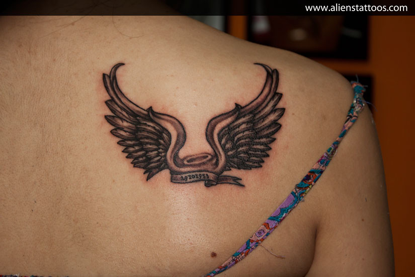 angel wings with halo tattoo concept design and inked by flickr. Black Bedroom Furniture Sets. Home Design Ideas