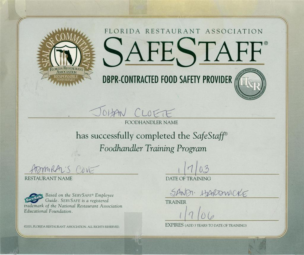 Safe Staff Training Certificate | Food Safety Training Certi… | Flickr