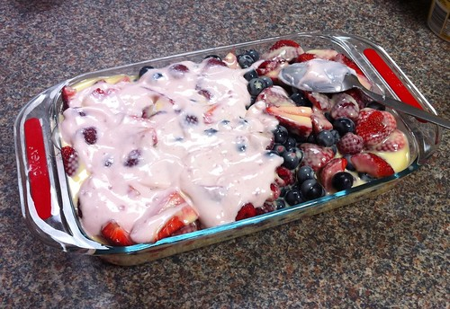 raspberry yoghurt on top of the custard-drowned berries | by snarkattack