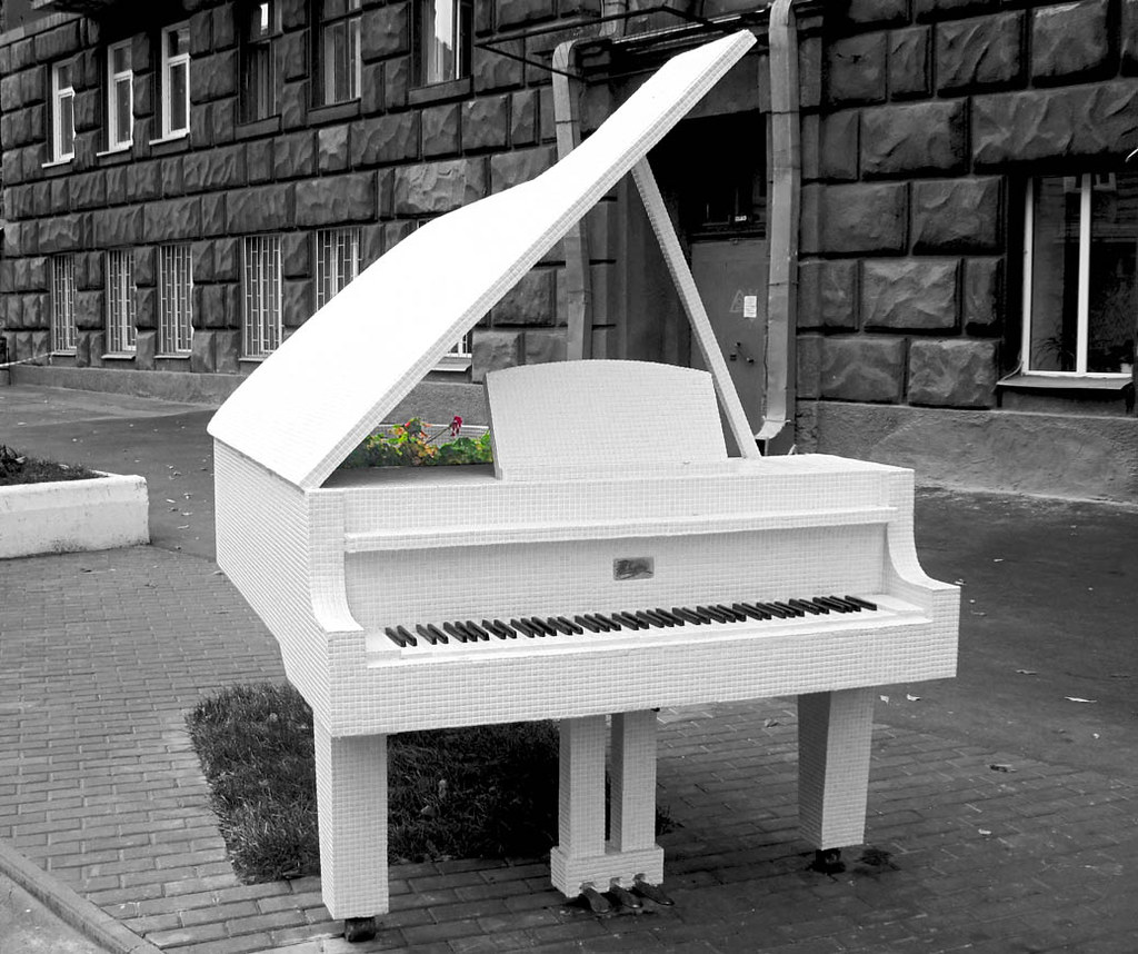 Piano Black And White White Grand Piano | by