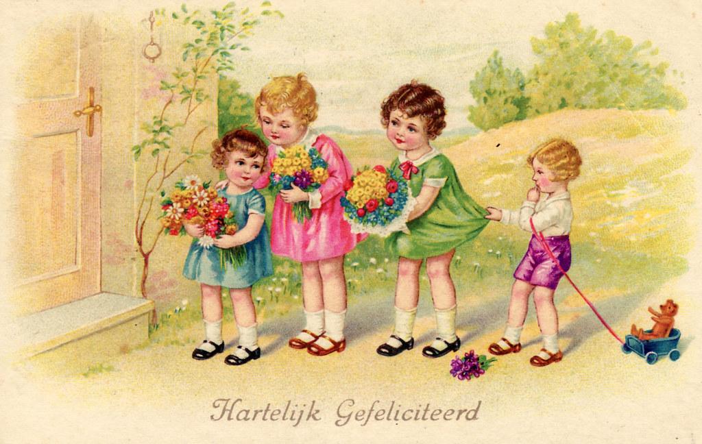 gefeliciteerd bloemen vintage