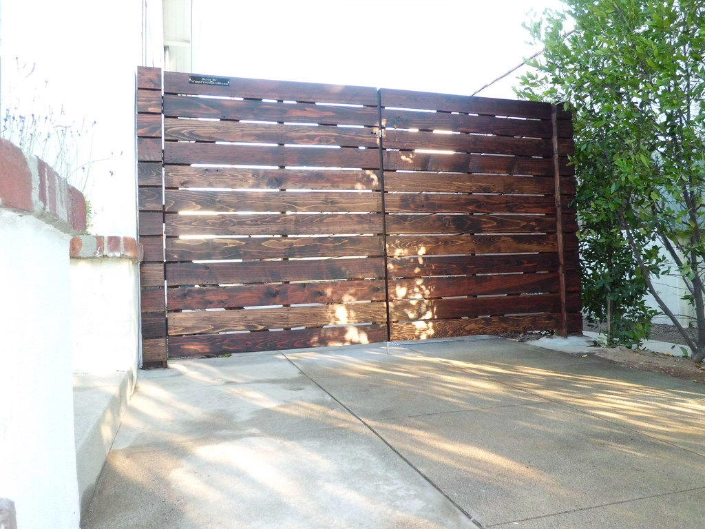 Custom 1x6 Horizontal Redwood Driveway Gates And Fence; Mo