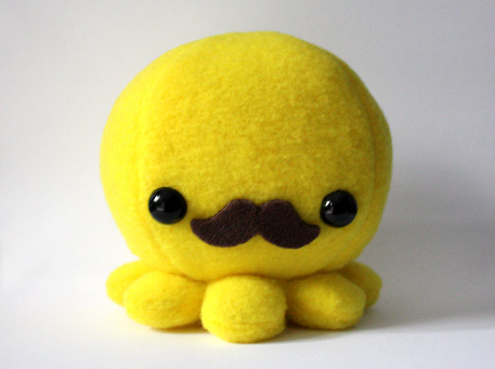 Yellow Moustache Octopus Front View Octopus Plush Toy