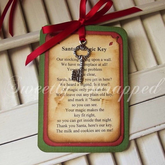 Santa S Magic Key Poem Tag Green Red Vintage Inspired