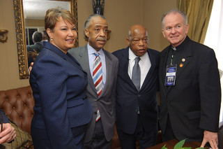 Administrator Jackson comes together with the Rev. Al Sharpton, Honorable Congressman John Lewis, and US House Chaplain Pat Conray | by usepagov