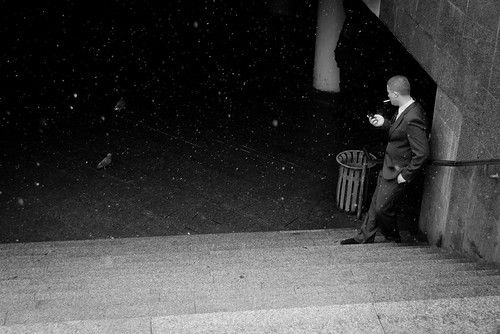 Smoking man and pigeon | by atMamont