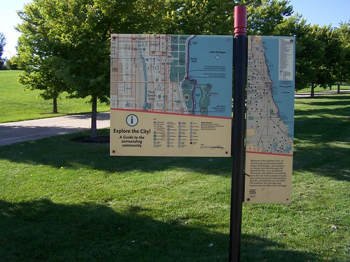 Map-wayfinding sign, Lakefront Trail, Chicago