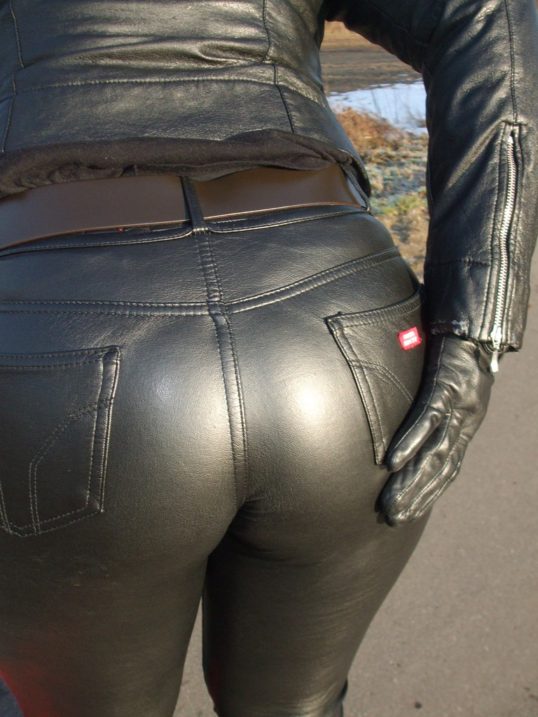 Candid leather leather jacket babe 2