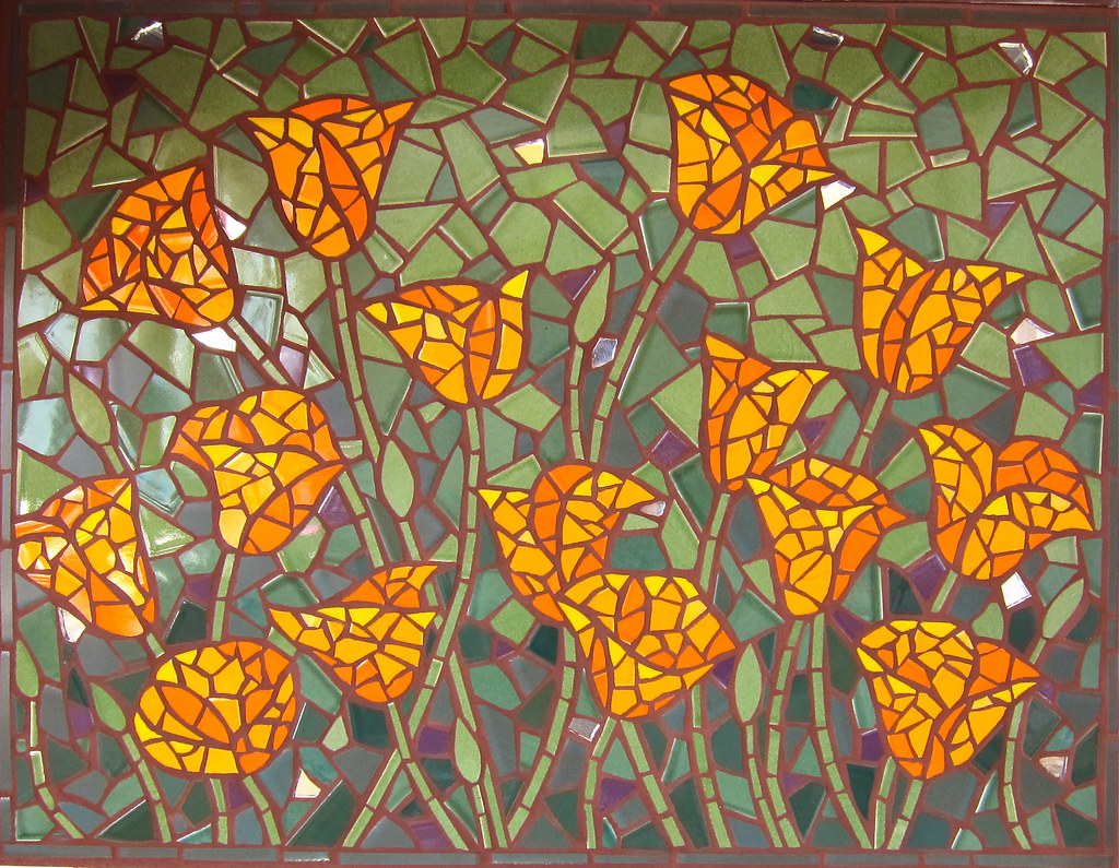 Poppies Mosaic By Rachel Rodi Ceramic Tile Mosaic