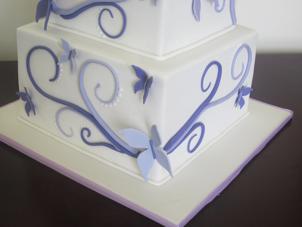 Butterfly swirls wedding cake - close up. | I made the butte… | Flickr