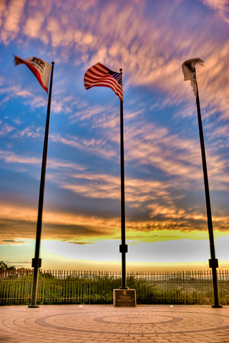 Flag poles at sunset HDR | by pearcemt
