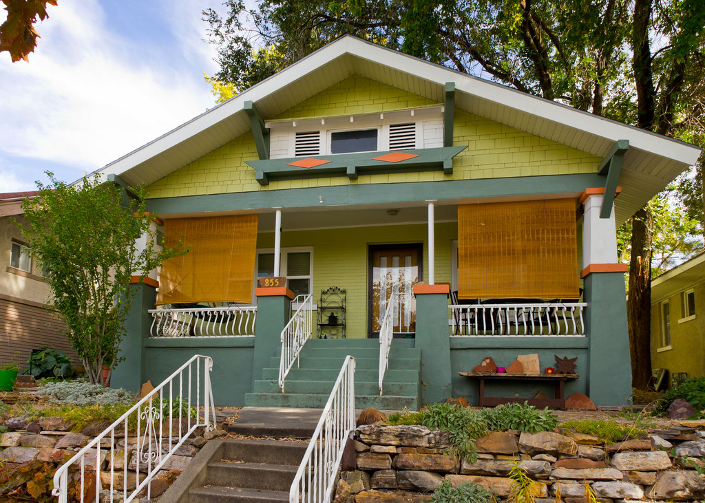 Green Craftsman Bungalow House