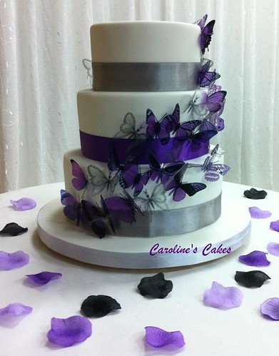 violet and silver wedding cake purple and silver butterfly wedding cake 3 tiered cake 21619
