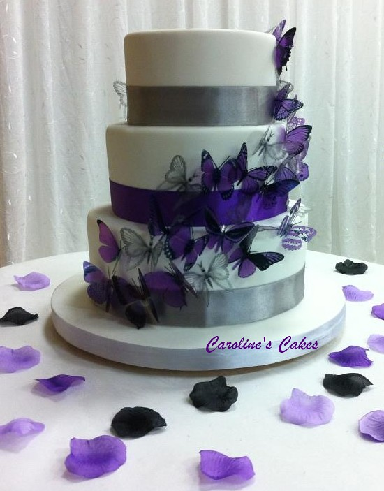 Wedding Cakes With Purple Butterflies