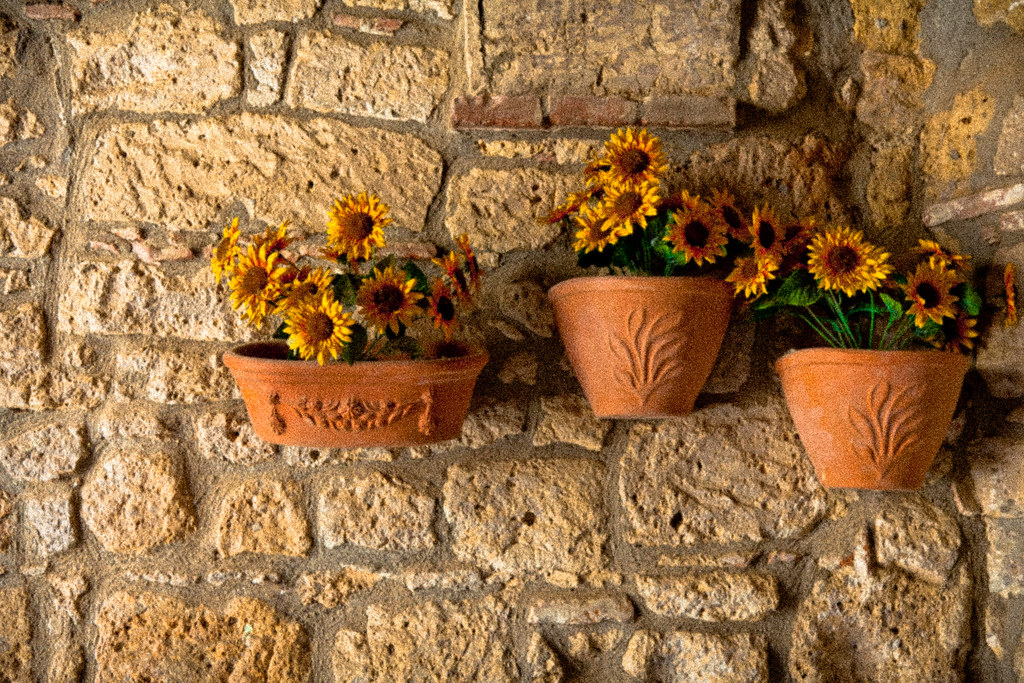 Villages In Tuscany With Vases And Flowers Italy Anthony Pappone