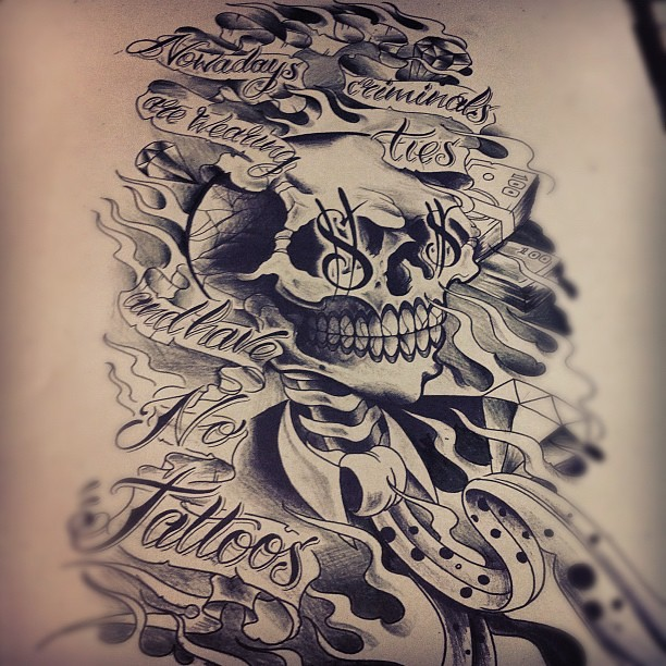 tattoo design skull lettering newschoolblackngreyism flickr. Black Bedroom Furniture Sets. Home Design Ideas